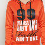 best Casual Drawstring 99 Letter Print Women Orange Hoodie