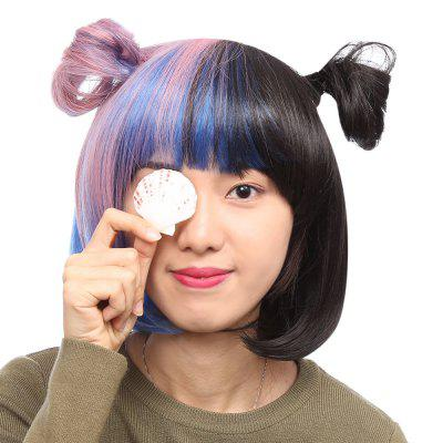Women Bobo Short Straight Gradient Blue Pink Black Wigs