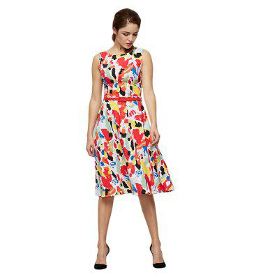 Trendy Sleeveless Allover Print Women Dress with Belt