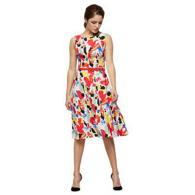 Trendy Sleeveless Allover Print Damen Kleid mit Gürtel