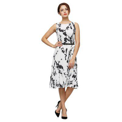 Buy BLACK Sleeveless Floral Print Sheath Women Dress with Belt for $16.26 in GearBest store