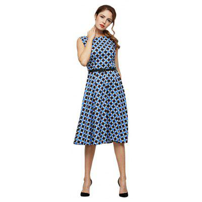 Buy DEEP BLUE Trendy Allover Dot Print A-line Dress with Belt for Ladies for $17.48 in GearBest store