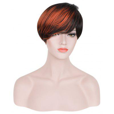 Handsome Short Side Bangs Mixed Colors Black Orange Synthetic Wigs