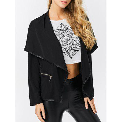 Turn-down Collar Zipper Pocket Design Women Coat