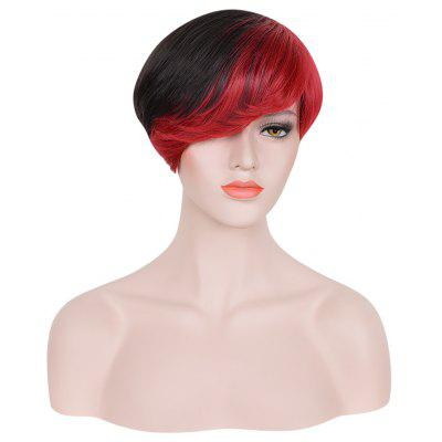 Short Side Bangs Mixed Black Red Synthetic Wigs