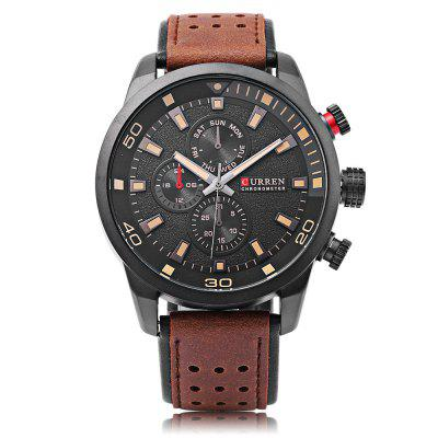 Curren 8250 Male Quartz WatchMens Watches<br>Curren 8250 Male Quartz Watch<br><br>Band Length: 8.27 inch<br>Band Material Type: Leather<br>Band Width: 24mm<br>Case material: Alloy<br>Case Shape: Round<br>Clasp type: Pin Buckle<br>Dial Diameter: 1.77 inch<br>Dial Display: Analog<br>Dial Window Material Type: Hardlex<br>Feature: Luminous<br>Gender: Men<br>Movement: Quartz<br>Package Contents: 1 x Watch, 1 x Box<br>Package Size(L x W x H): 8.50 x 8.00 x 5.50 cm / 3.35 x 3.15 x 2.17 inches<br>Package weight: 0.142 kg<br>Product Size(L x W x H): 27.00 x 5.50 x 1.20 cm / 10.63 x 2.17 x 0.47 inches<br>Product weight: 0.084 kg<br>Style: Business<br>Water Resistance Depth: 30m