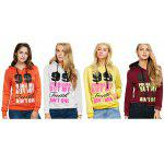Casual Drawstring 99 Letter Print Women Orange Hoodie photo