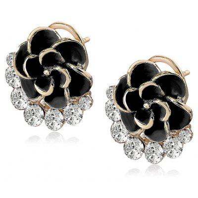 Ladies Camellia Shape Diamond-studded Stud Earring