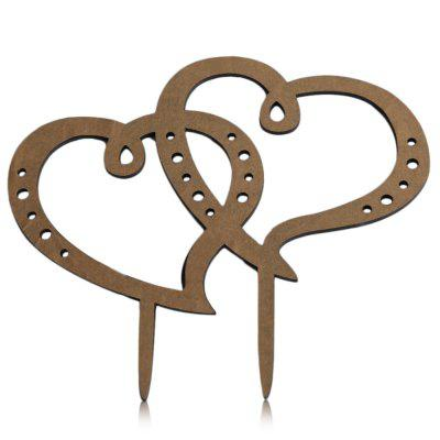 Double Heart Wedding Inserted Card Cake Decoration