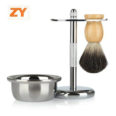 ZY Men Classic Shaving Kit Pure Badger Hair Brush Stand Holder