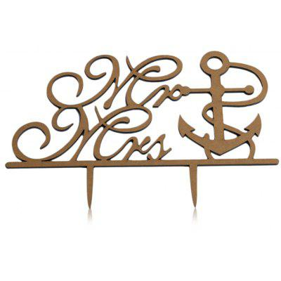 Mr Mrs Boat Anchor Wedding Inserted Card Cake Decoration
