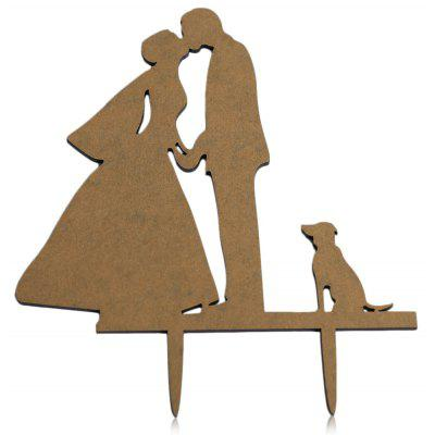 Dog Mr and Mrs Wedding Cake Inserted Card Decoration