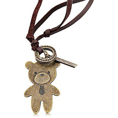 Bear Unisex Leather Necklace