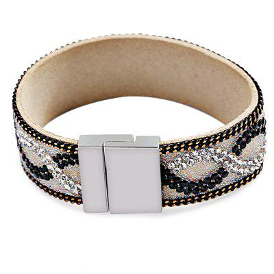 Drainage Drilling Leather Full Rhinestone Crystal Cape Bracelet