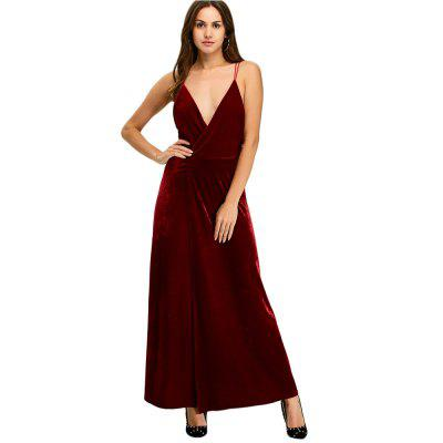Spaghetti Strap Plunging Neck Backless Slit Women Dress