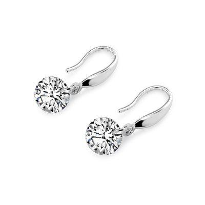 Women Zircon Round Drop Earrings