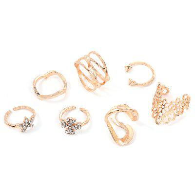 Hollow Out Ladies Seven-piece Ring Set