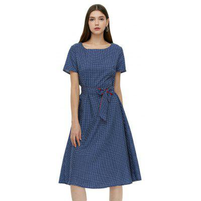 Short Sleeve Round Collar Dot Print Tie Waist Dress for Women