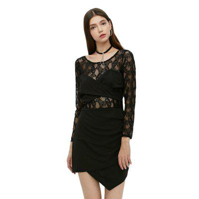 Long Sleeve Round Collar Lace Spliced Women Dress