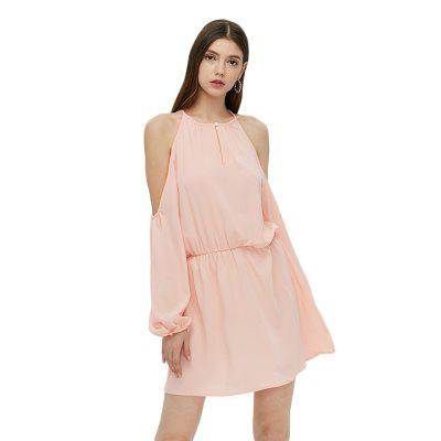 Long Sleeve Round Collar Strapless Pink Women Dress