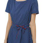 best Short Sleeve Round Collar Dot Print Tie Waist Women Dress