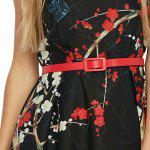 Sleeveless Round Collar Floral Print Belt Women Dress - BLACK