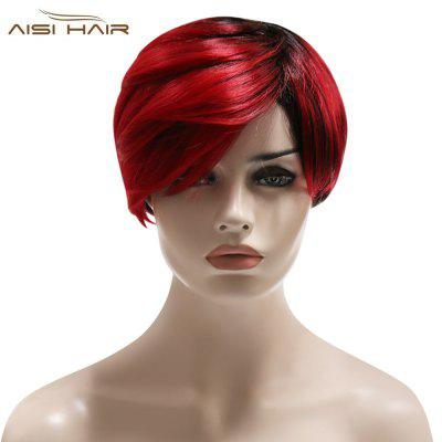 AISIHAIR Handsome Short Gradient Red Black Synthetic Wigs with Side Bangs