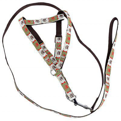 Lovely Bone and Paw Print Adjustable Nylon Harness Leash for Pet Dogs and Cats