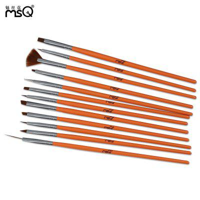 MSQ 12pcs Rose Red Nail Art Painting Drawing Brushes Set
