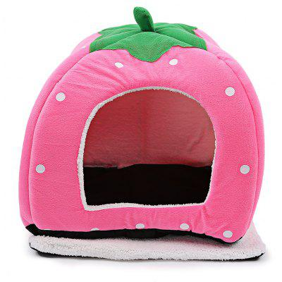 Polka Dot Strawberry Soft Cotton Pet Dog Cat Bed House