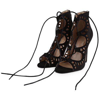 Hollow Lace Up Nubuck Leather Thin High Heel Shoes