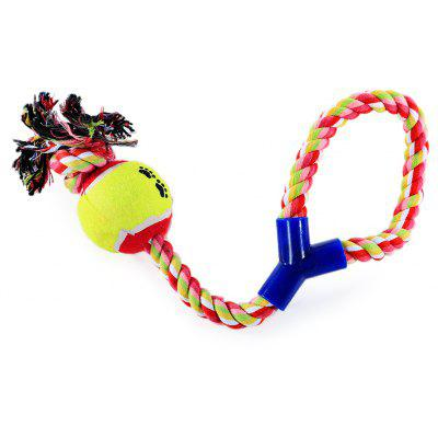 Pet Rope Toy Durable Chew Y-shaped Cotton Knot with Ball