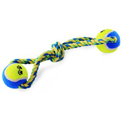 Pet Rope Toy Durable Chew Cotton Knot with 2 Tennis Ball