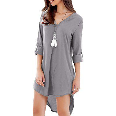 Half Rolled Sleeve V Neck High-low Hem Women Shirt Dress