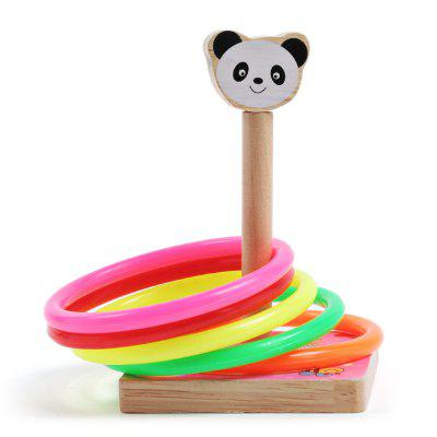 Kids Wooden Classic Ringtoss Toy Cast Ring Throwing Game