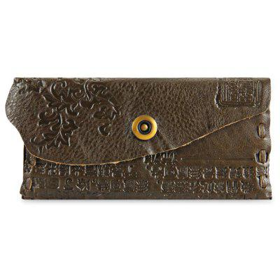 Chinese Characters Print Style Unisex Snap Fastener Wallet