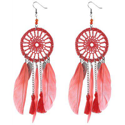 Ladis Feather Round Mesh Design Earrings