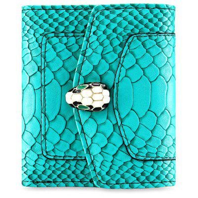 PU Leather Snap Fastener Short Wallet for Women
