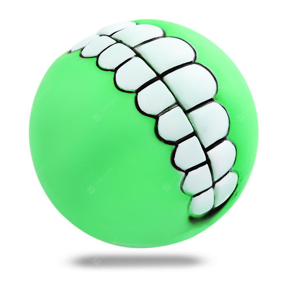 Pet Dog Cat Chew Toy Soft Bucktooth Pattern Squeaky Ball