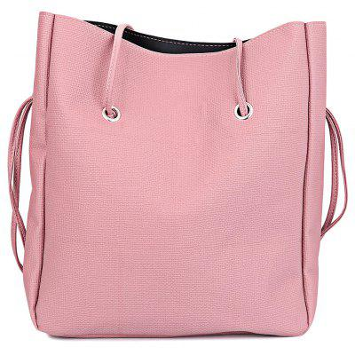 Guapabien 2pcs PU Leather Pure Color Multifunctional Strap Women Bucket Bag