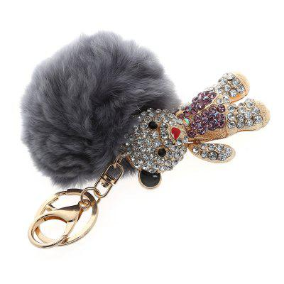 Fashion Alloy Diamond Cute Bear Plush Keychain Car Key Ring