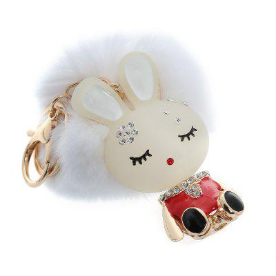 Fashion Alloy Diamond Cute Rabbit Plush Keychain Car Key Ring