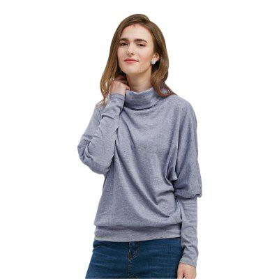 Long Bat Sleeve Stand Collar Button Women T-shirt