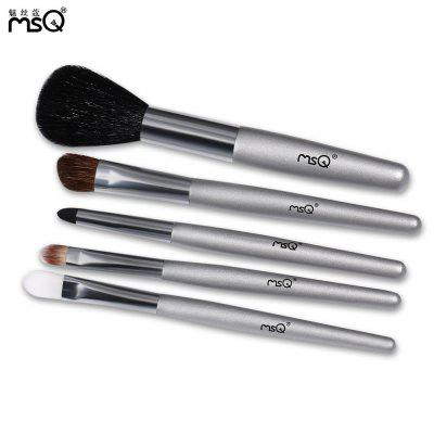 MSQ 5pcs Portable Wool Makeup Brush Set with Storage Bag