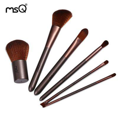 MSQ 6pcs Coffee Makeup Brushes Set with Storage Bag