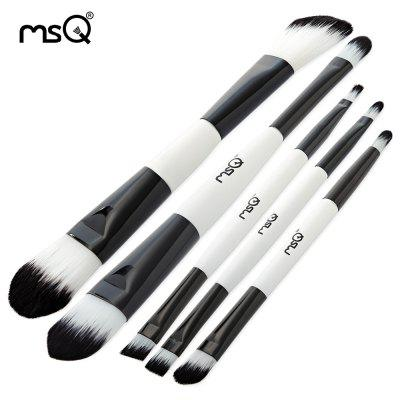 MSQ 5pcs Black White Makeup Brushes Set with Storage Bag