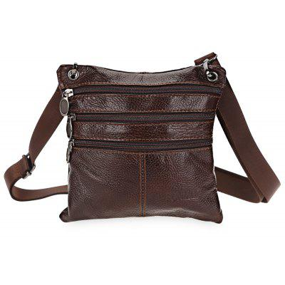FONMOR Soft Leather Zipper Closure Shoulder Bag for Men