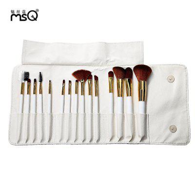 MSQ 15pcs Rome Style Print Makeup Brushes Set Nylon Hair Cosmetic Tools with Storage Bag