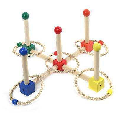 Wooden Cast Ring Layer Up Throwing Game Toy for Kids