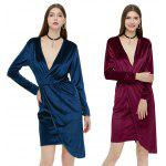 best Long Sleeve Plunging Neck Asymmetrical Hem Women Dress